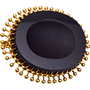 Old Black Onyx and Gold Brooch