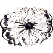 Signed Silver and Black Stone Brooch