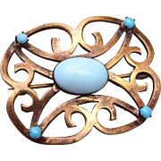 Brooch Set with Robin's Egg Turquoise Cabochons