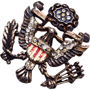 Trifari Sterling Eagle and Shield Brooch