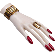 Celluloid Hand Brooch With Bracelet and Ring