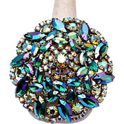 Blue Green AB Prong Set Rhinestone Brooch