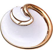 Trifari White Enameled Modern Brooch