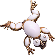 1952 Milk Glass Frog Brooch