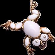 1952 Milk Glass Frog Brooch