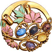 Enamel and Colorful Stone Brooch
