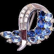 Trifari Patent Pending Blue Brooch