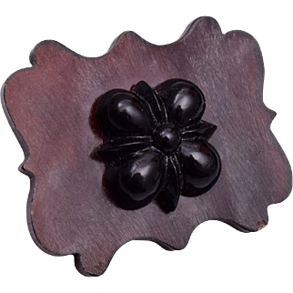 Black Glass and Brown Panel Victorian Brooch