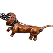 Alice Caviness Sterling Germany Dachshund Enamel and Marcasite Brooch