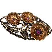 Floral Brooch with Flowers and Purple Stones