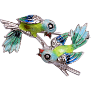 Alice Caviness Sterling Germany 2 Bird Enameled Brooch