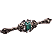 Sterling and Marcasite with Malachite Brooch