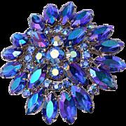 Blue AB Rhinestone Brooch