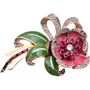 Coro Day/Night Flower Brooch