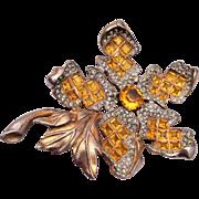 Invisibly Set Topaz Stone Brooch