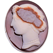 Sterling and Agate Cameo Brooch or Pendant