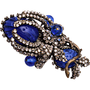 Miriam Haskell Blue Art Glass and Rose Montee Stone Brooch