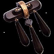Vulcanite and 10k Gold Dangling Brooch