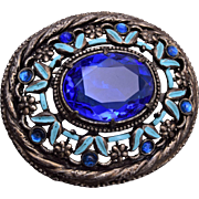 Blue Rhinetsone and Enamel Brooch