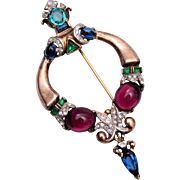 1945 Trifari Sterling Jewels of Tanjore Brooch
