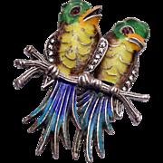 Sterling Silver Germany Enameled Birds Brooch
