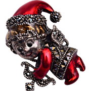 Sterling and Marcasite Holiday Cupid Brooch