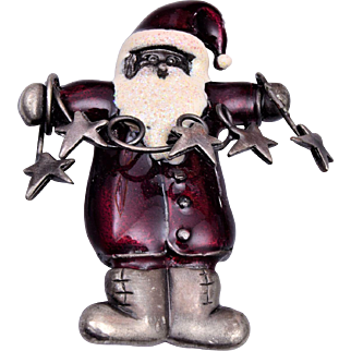 Enameled Christmas Santa Brooch