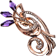 Sterling and Purple Stone Brooch