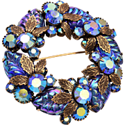 Molded Glass Leaves and AB Rhinestone Brooch