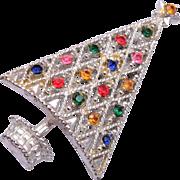 Silver Christmas Tree Brooch