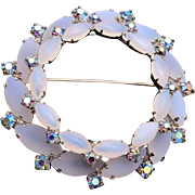 Frosted Opalescent Stone Brooch
