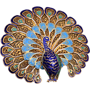 Silver Filigree and Enameled Peacock Brooch