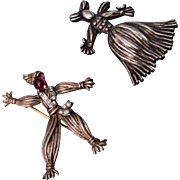 1943 Sterling Trifari Nenette and Rintintin Rag Doll Pins