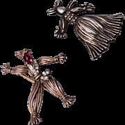 1943 Sterling Trifari Nenette and Rintintin Rag Doll Pins