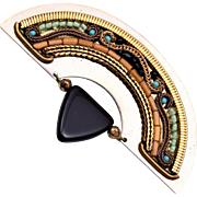 Ayala Bar Half Moon and Glass Brooch