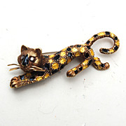 14kt Martine Panther Brooch With Diamond Eyes
