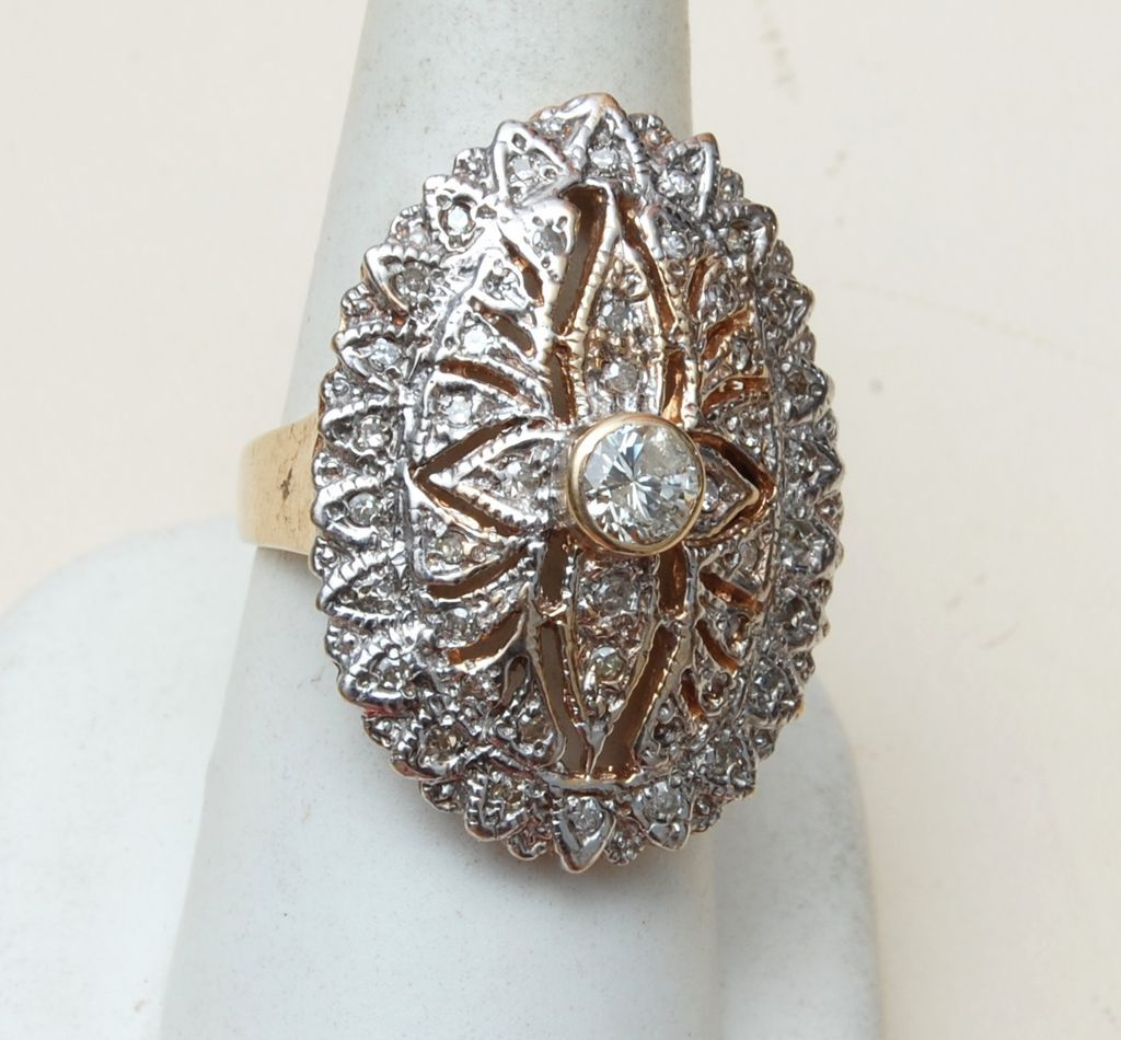 14kt Gold Ring With 2 carats of Diamonds Size 8-1/2