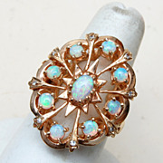 Gorgeous 14kt Gold Ring with 9 Opals - Size 8 - Lots of Fire!
