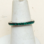 Sterling  Trifari Eternity Green Ring - 5-1/2