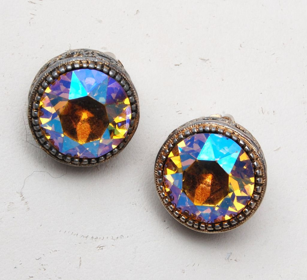 AB Topaz Rhinestone Earrings