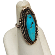 Sterling and Turquoise Ring Size 6-1/2