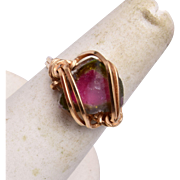 14kt Natural Watermelon Tourmaline Ring size 6-3/4