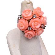 Sterling and Molded Coral Ring Size 7-1/4