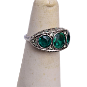 Sterling, Emerald and Diamond Ring Size 6