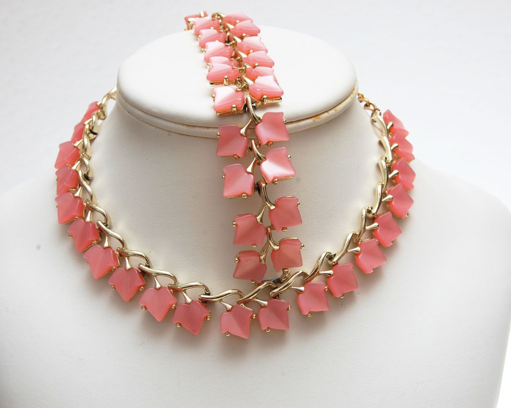 Pink Lucite or Thermoset Necklace and Bracelet Set