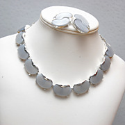 Grey Lucite Necklace and Earring Set - Beautiful Condition
