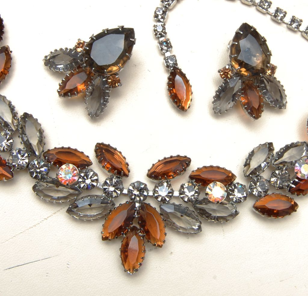 Gorgeous Black Diamond and Topaz Unfoiled Necklace and Earring Set