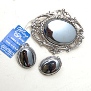 Whiting and Davis Hematite Brooch and Earring Set With Original Tag