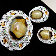 W. Germany Art Glass and White Japanned Brooch and Earring Set