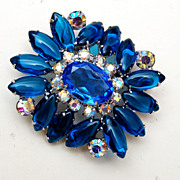 Blue Unfoiled Rhinestones and AB Rhinestone Brooch